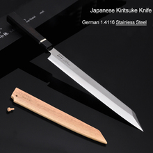 Super sharp Sushi Sashimi Chef Knife 10.5Germany SS Ebony handle Salmon fish filet meat slicer petty knife Free shipping#5 sashimi knife 14 inches