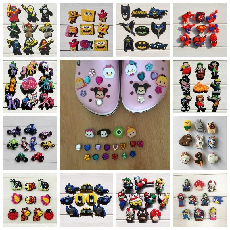 100PCS Mixed Mickey Avengers Super Mario Cartoon PVC Shoe Charms Shoe Buckles Shoes Accessories Croc Decorations JIBZ Ornaments