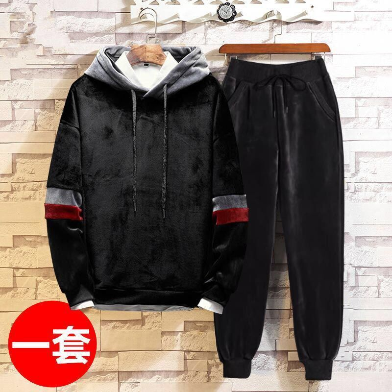 Gold Velvet Reversible Sweatshirt Set Men Autumn Winter Warm Casual Hooded Pullover Men Cotton Sweatercoat Pull Sweatshirt Set