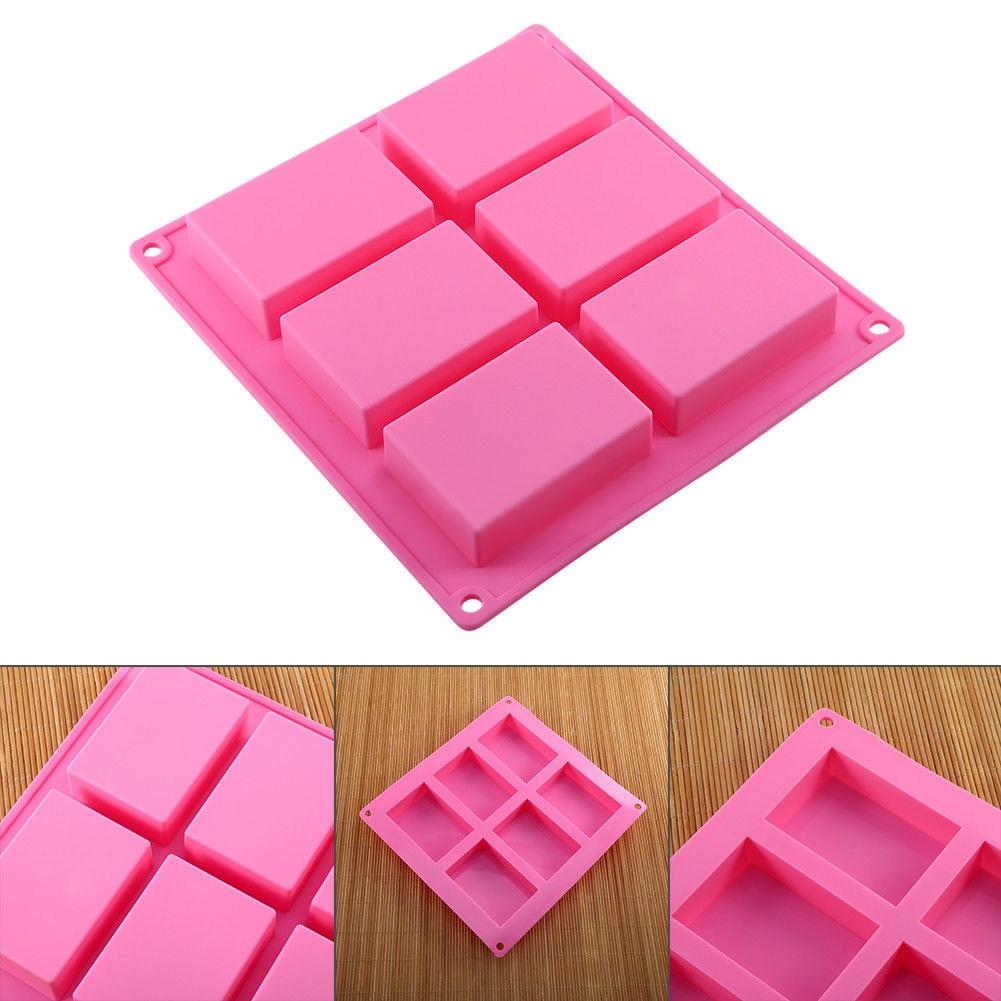 6 Cavity Plain Rectangle Soap Mold Silicone Craft DIY Making Homemade Cake Tool