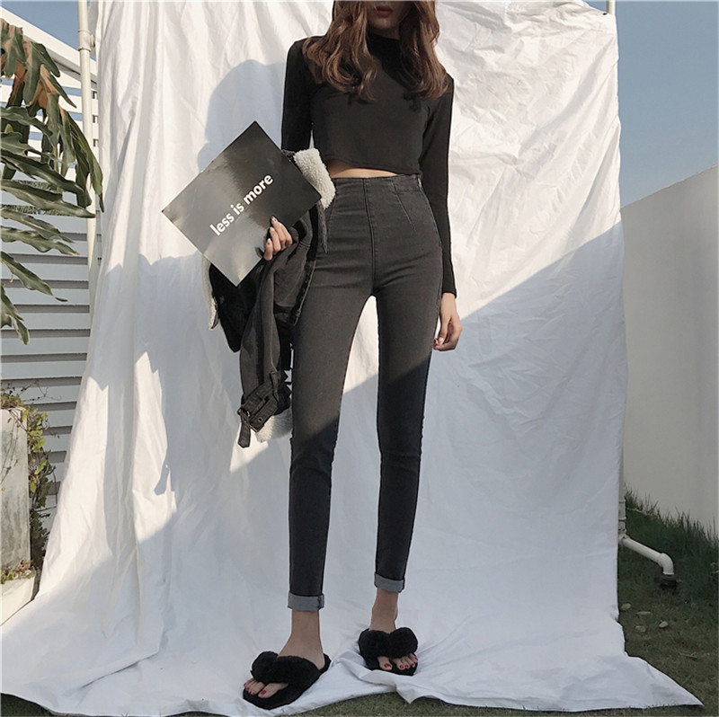 Real shot 2020 new Korean version of black retro high waist slim and versatile casual pencil jeans