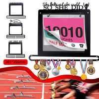 Maratón medalla suspensión medalla titular estante de exhibición de Metal soporte de acero corriendo natación gimnasia Medallas de deporte regalo sostenedor del babero