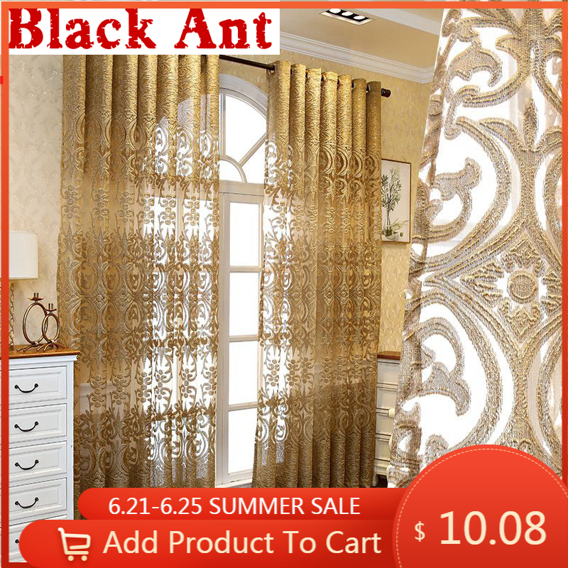 High-end Luxury European Embroidered Curtains Window Screen Tulle Living Room Bedroom Villa Palace Golden Finished Drapes ZH431F