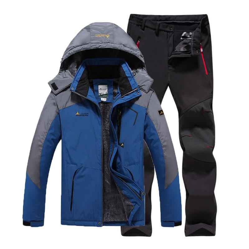 6XL Plus Size Man Winter Fur Warm Fishing Trekking Camping Hiking Climb Ski Jackets Outdoor SoftShell Pants Set Sport Waterproof