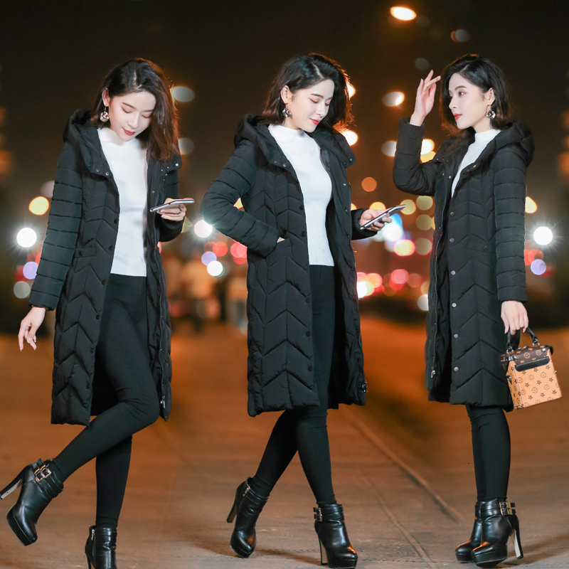 Cotton Suit Girls Long Fund Thickening Loose Coat Woman Winter Clothes Ma'am Cotton padded Jacket Woman Suit dress Discount