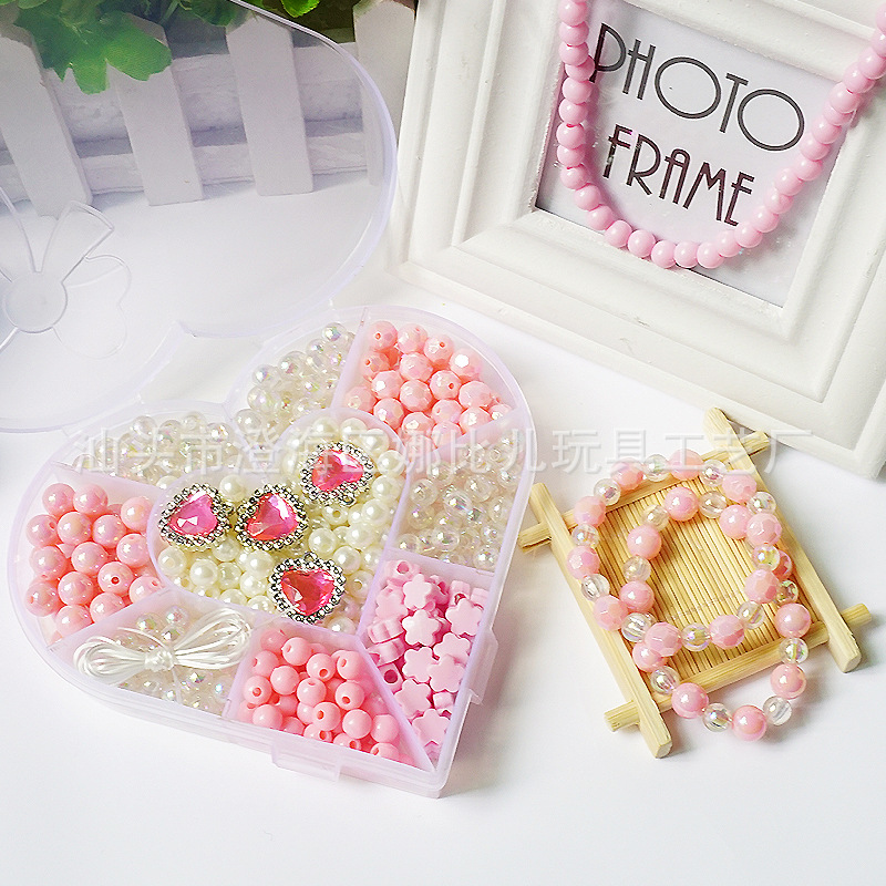 Children DIY Beaded Box Beaded Bracelet Necklace Material Box Korean-style Handmade Hair Accessories Barrettes Material Set