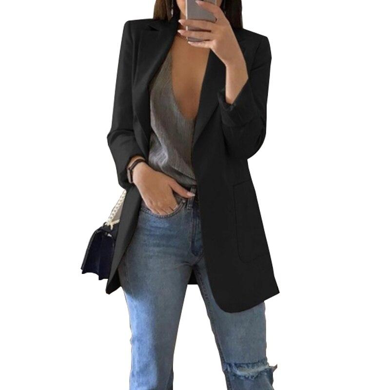 Приталенные женские блейзеры 2019, осенний костюм, блейзеры, куртка для женщин, для работы, офиса, женский костюм, черный с карманами, деловой Б...