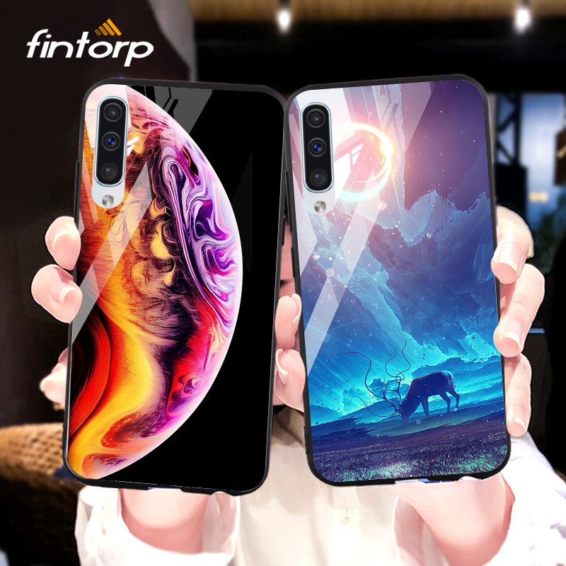 Case For <font><b>Samsung</b></font> Galaxy A8 A6 Plus A7 2018 Cases Stars Space Tempered Glass <font><b>Cover</b></font> for <font><b>Samsung</b></font> A70 A60 A50 A40 A30 A20 Bumper image