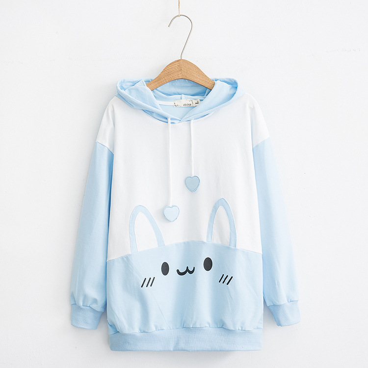 Cute Bunny Printed Hoodie Women's 2018 New Style Japanese-style College Style Students Tops 4216