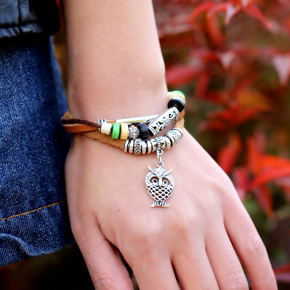 Vintage pendant beaded bracelet adjustable Jewellery for women braided leather bracelet for men creative Bangles for student