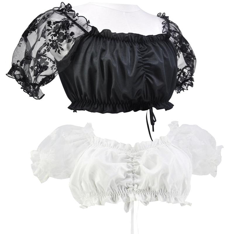 Plus Size Medieval Dirndl Oktoberfest Costume Germany Bavarian Lacy Underwear Blouse Cosplay Tavern Carnival Fancy Party