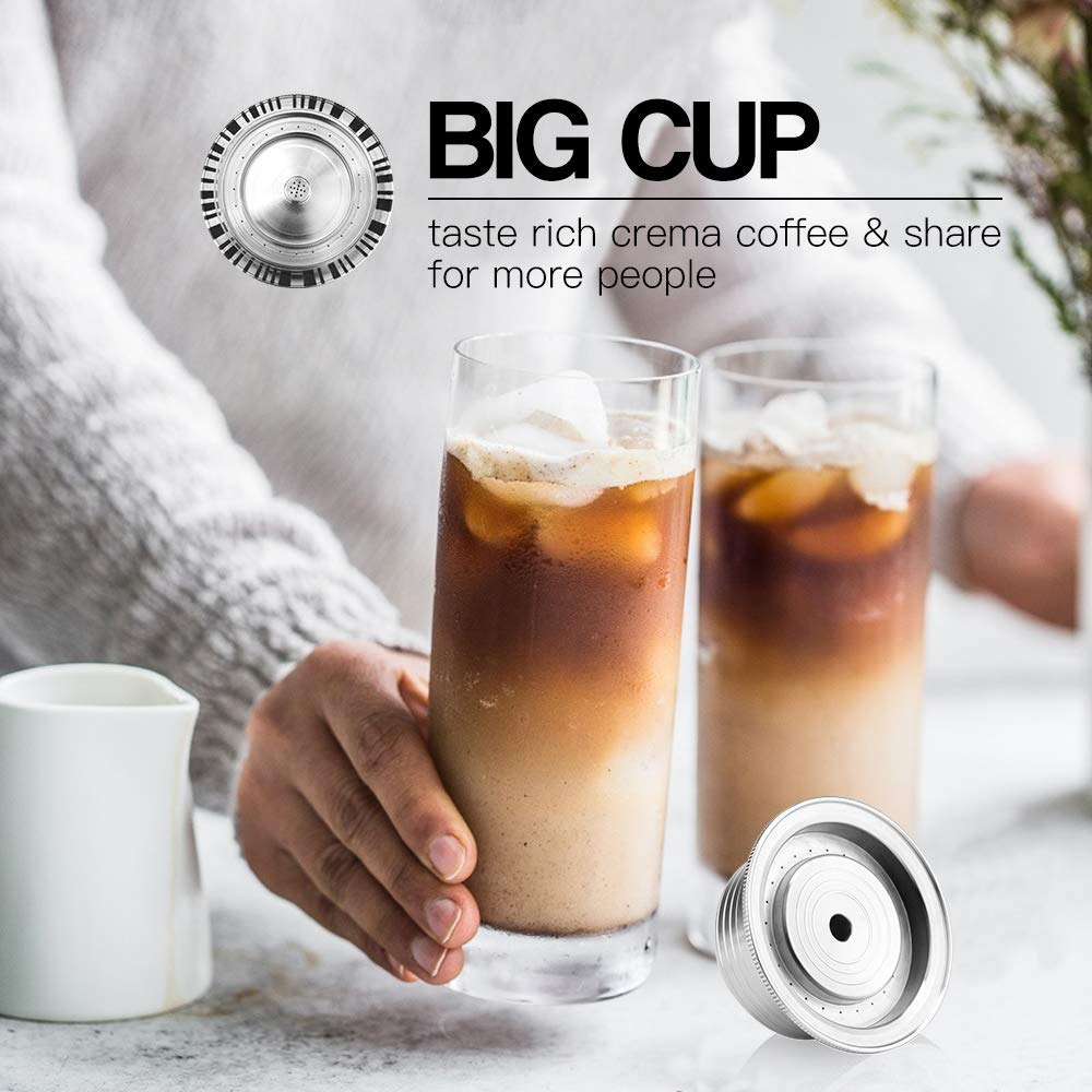 Stianless Steel Reusable Big CUP(230ml) For Nespresso Vertuo Coffee Capsule Filter Espresso Vertuoline For VertuoPlusLine