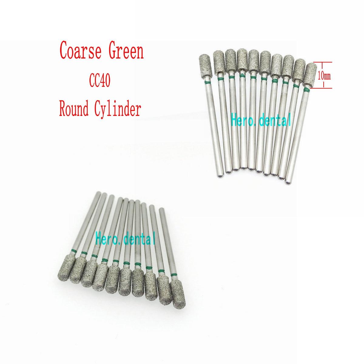 10pcs Coarse Green 2.35mm Dental Shank Diamond Grinding Bur Drill For Dental Grinding Dental Polishing Burs