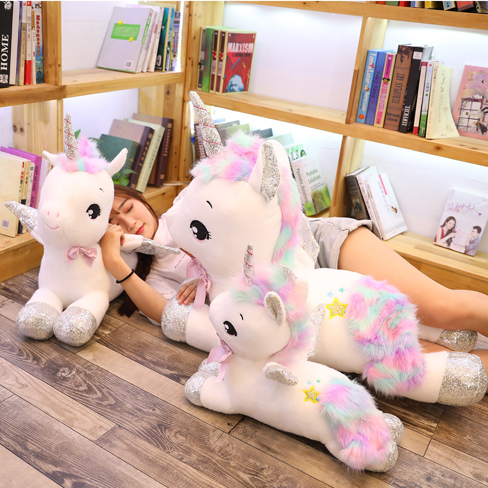 1pc 30-80CM Big Size Cute Lying Unicorn Plush Toys Lovely Stuffed Soft Unicorn Horse Pillow For Children Baby Sleeping Cushion