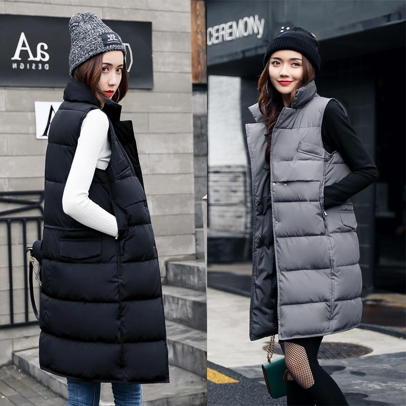 ALMUERK Autumn Winter Cotton Vest Women Ladies Casual Waistcoat Female Sleeveless Long Vest Jacket Slim Fit Warm Simple Coat