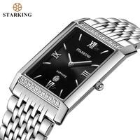 STARKING-relojes analógicos de cuarzo para hombres de negocios, cronógrafo informal rectangular de acero inoxidable, a la moda, resistente al agua, BM0778, 2020