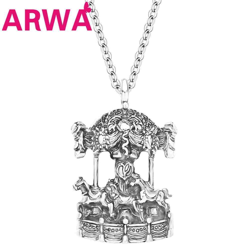 ARWA سبائك مطلي العتيقة الفضة خرط جولة كاروسيل الحصان قلادة قلادة Menta مجوهرات مراهقون الفتيات سحر هدايا تذكارية