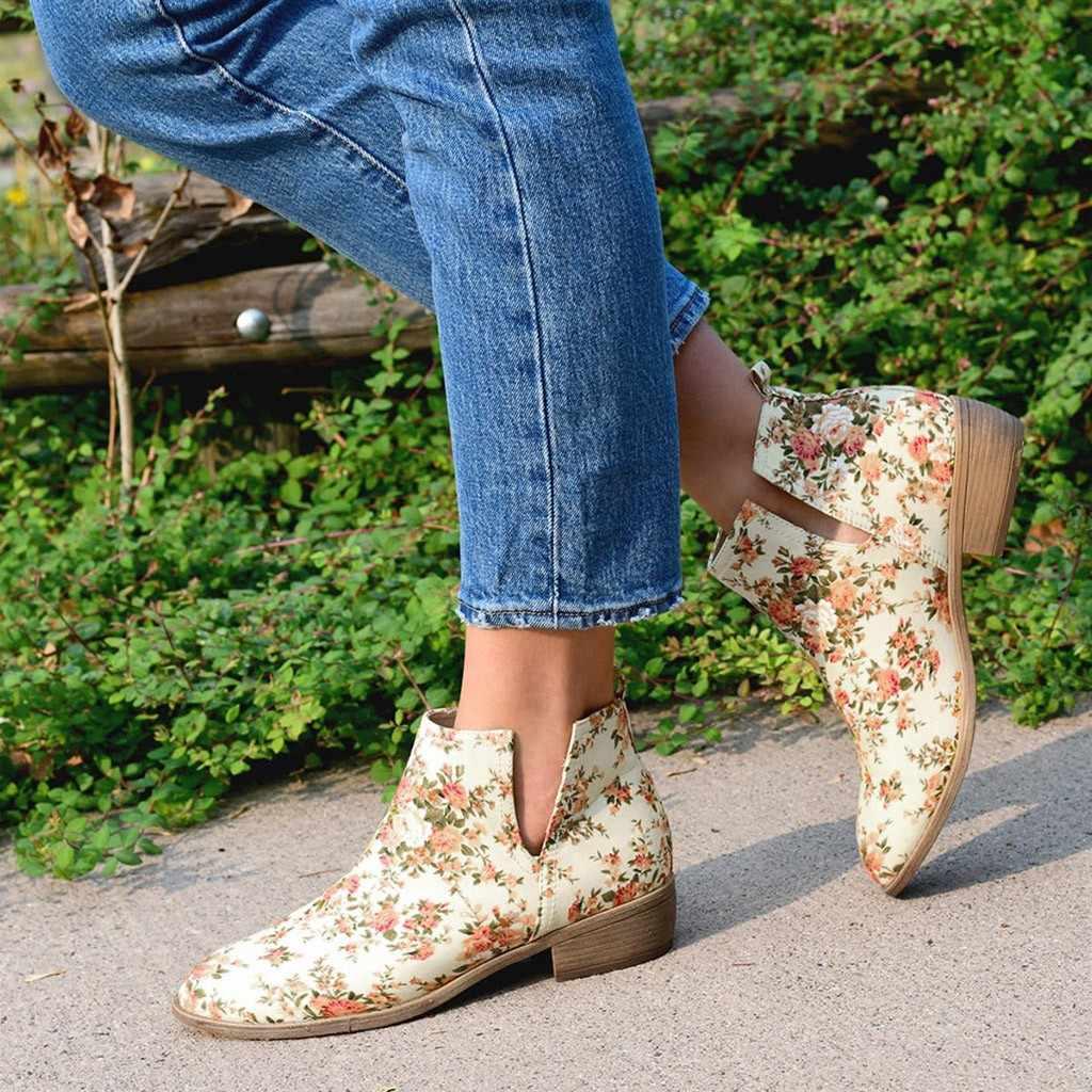 Bohemen Chelsea Laarzen vrouwen Casual Enkellaars Herfst Bloem Print Exotische Slip-On Korte Laars Elegant Lady Lage hak Rome Schoenen