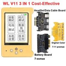 Wl v11 programador cor original da tela lcd para o telefone 11 xr xsmax xs 8p 8 7p fone de ouvido/toque/reparo da bateria bom como qianli icopy