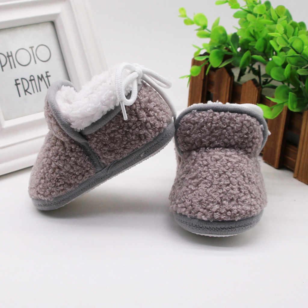 Moda Zapatos chico 2019 gran oferta infantil invierno botas sólidas recién nacido bebé niñas cachemir de felpa vendaje zapatos calientes chaussure enfants