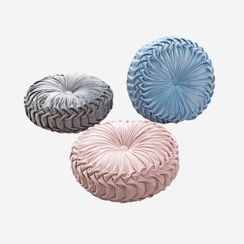 European Style Round Solid Red Grey Blue Pink Beige Green Seat Cushion Velvet Fabric Back Cushion Sofa Pillow Bed Pillow