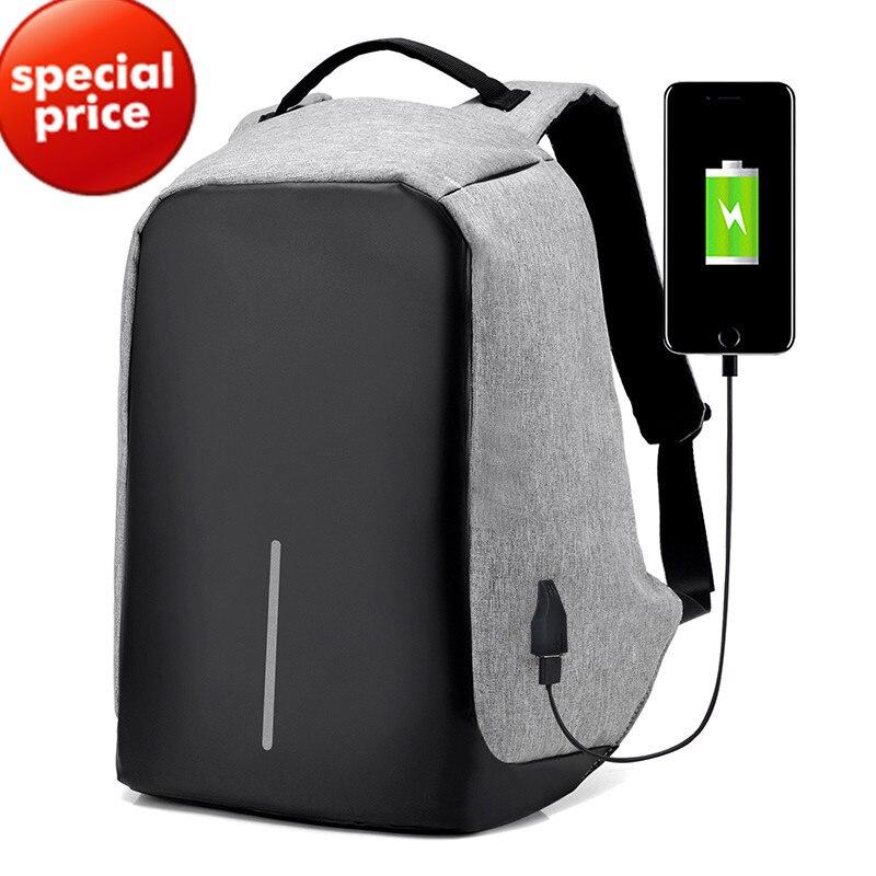 Laptop Backpack School-Bag Usb-Charging 15inch Waterproof Mochila Male Men