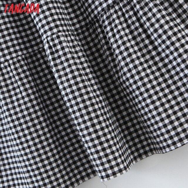 Tangada 2021 Fashion Women Plaid Print Tassel Dress Sleeveless Female Casual Midi Dress 8H72 4