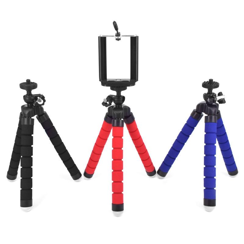 Mini trípode portátil Flexible esponja pulpo soporte de montaje para GoPro teléfono móvil Smartphone soporte de cámara Clip trípode
