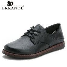 DRKANOL 2021 Neue Klassische Echtem Leder Flache Schuhe Frau Oxford Schuhe Weichen Boden Spitze Up Flach Wohnungen Oxford Schuhe Weibliche
