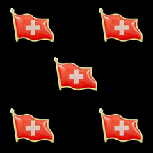 5 Pieces Switzerland Friendship Flag Metal Lapel Pin Badge Brooch Pin-Back Tie Badge sweden waving friendship flag metal lapel pin united nations badge pin back tie badge