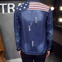 Top New Arrival Men Jean Jackets Long Sleeve Casual Jacket Slim Fit Coat Fashion Design American flag Pattern Outerwear Coat(China)