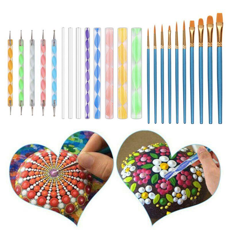 27pcs Mandala Dotting Tools Painting Brush Kit Acrylic Stick Art Pen Paint Stencil