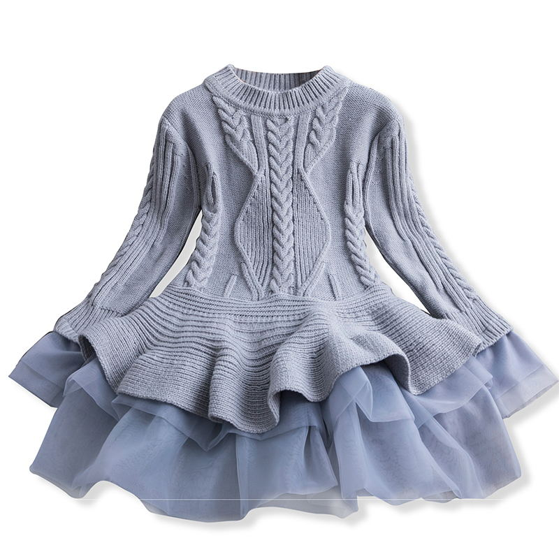 Xmas Winter Autumn Girl Dress Children Clothes Kids Dresses For Girls Party Dress Long Sleeve Knitted Sweater Toddler Girl Dress 4