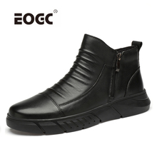Natural Cow Leather Men Boots Handmade Plush Warm Men Winter Shoes Rubber Anti-Skidding Ankle Snow Boots Shoes цена 2017
