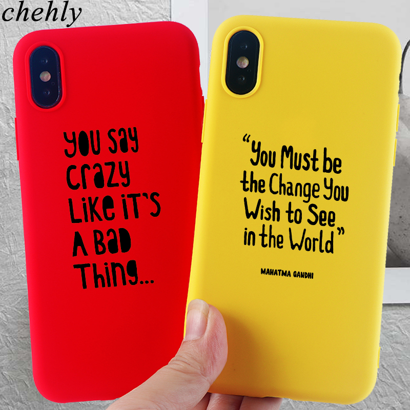 Trendy Words Phone Case for iPhone X XR XS Max 8 7 6 S Plus Fashion Cases Soft Silicone Fitted Cell Accessories Covers