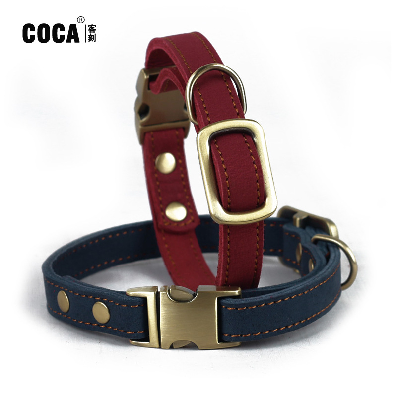 Coca Guest Engraved Dull Polish Cowhide Buckle Neck Ring Genuine Leather Small Dogs Bandana Dog Collar Long 50 Cm * Wide-1.5 Cm