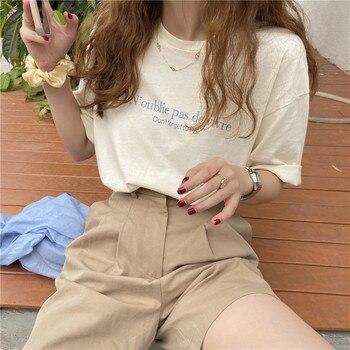 Letter Printed Thin Short Sleeve Cotton O-neck Fashion Vintage Sweet Fresh College Wind Basic 2021 Summer Women T-shirts 1