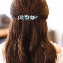 CHIMERA 2019 Vintage Crystal Flower Barrette for Women Luxury Rhinestone Hair Jewelry French Pins Metal Hairwear Clips