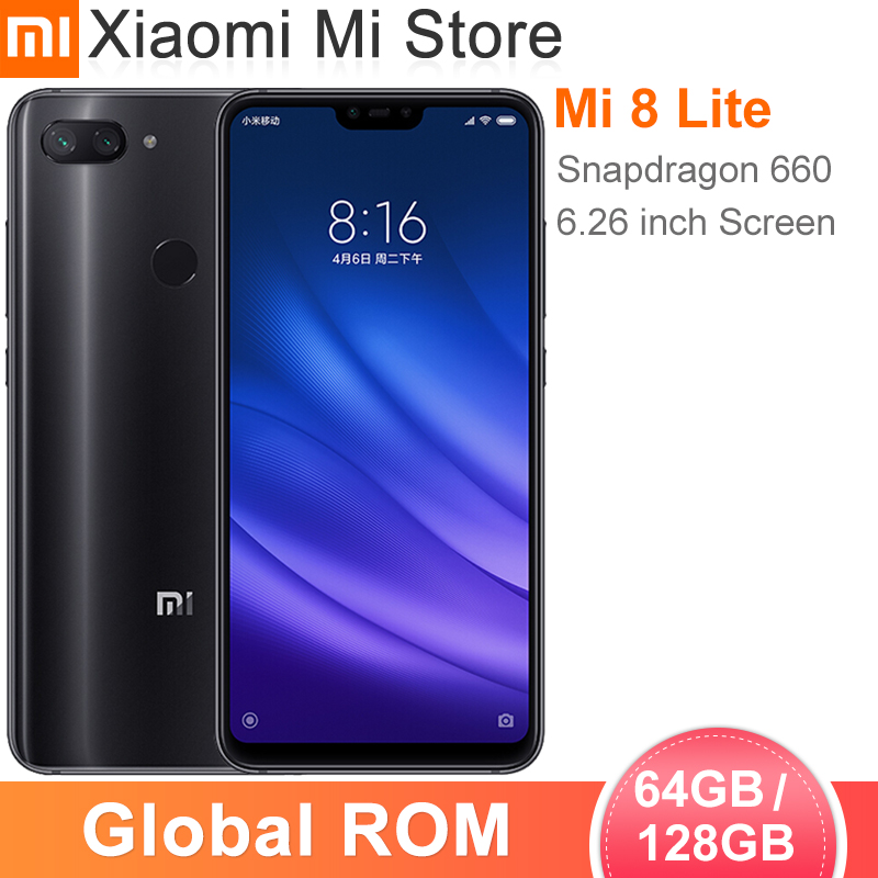 "In Stock Global ROM Xiaomi Mi 8 Lite 6GB RAM 64GB ROM Smartphone Snapdragon 660 6.26"" FHD+Screen 24.0MP Front Camera(China)"