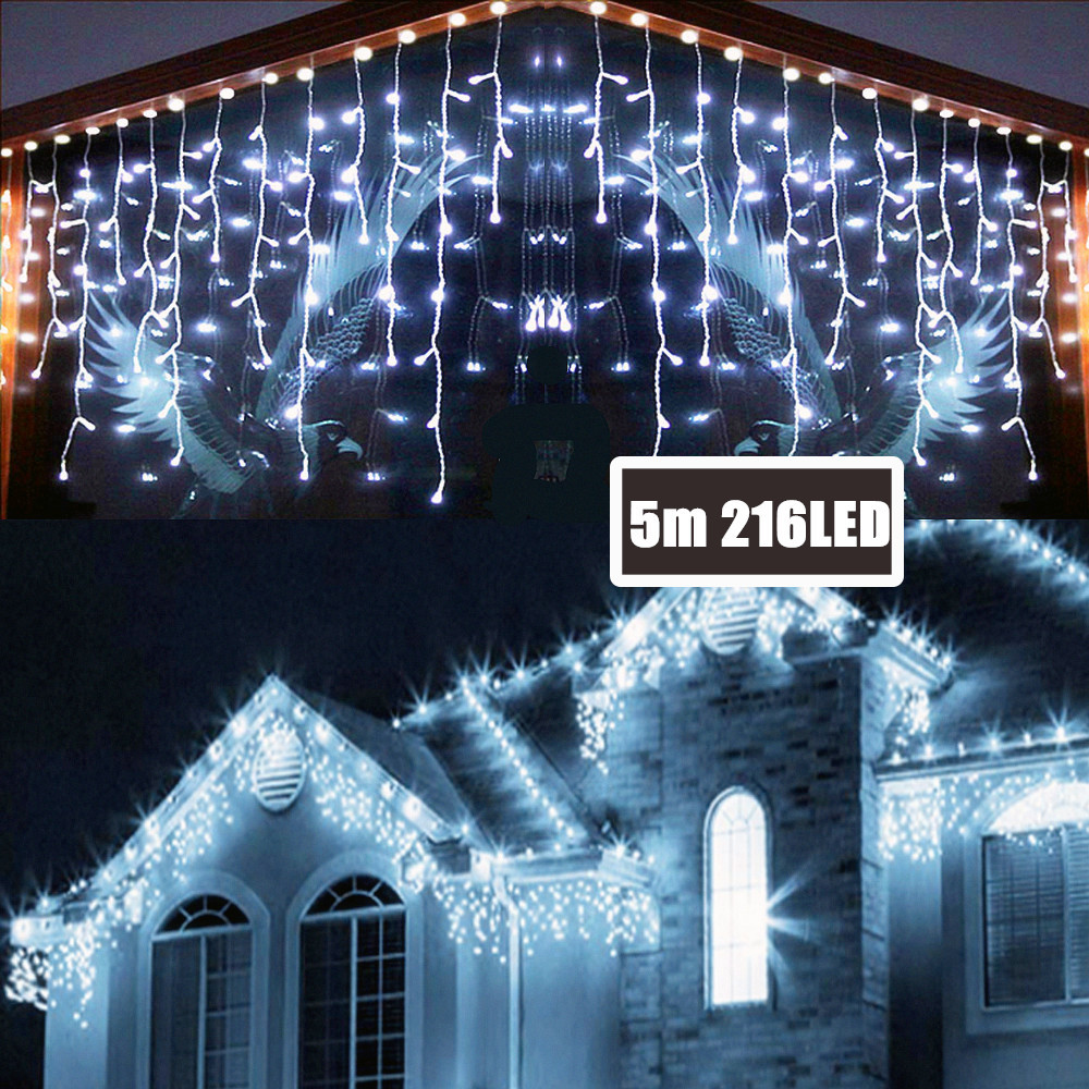 5M 216LED Fairy String Light Outdoor/Indoor Icicle String Light 8modes Curtain IP44 For Holiday Garden Wedding Party House Decor