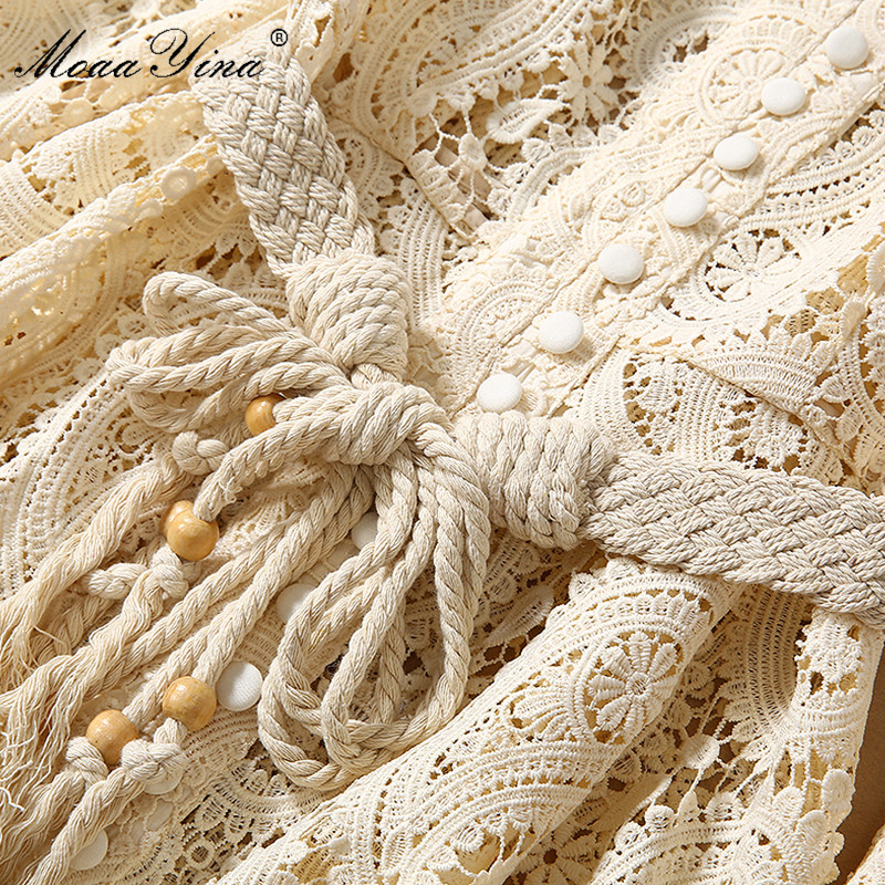 Image 5 - MoaaYina Fashion Designer Runway dress Autumn Winter Women Dress  Puff Sleeve Lace Hollow Out Lace Up DressesDresses