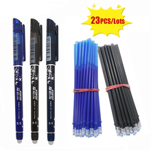 3+20Pcs/Set Gel Pen 0.5mm Erasable Washable Handle Erasable Pen Refill Rod Blue/Black/Red Ink School Office Writing Stationery стоимость