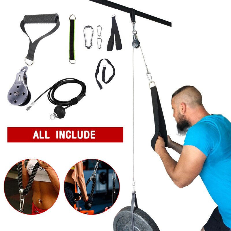 Fitness DIY Pulley Cable Machine Attachment System Arm Biceps Triceps Blaster Hand Strength Trainning Home Gym Workout Equipment