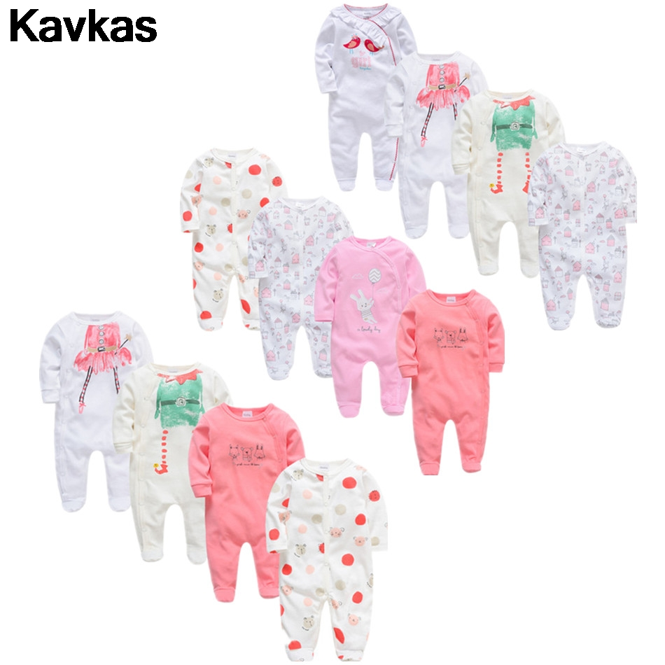 11KavKas 2019 New 4pcs Newborn Boy And Girl Printed Romper Summer Clothes Cute Baby Quality