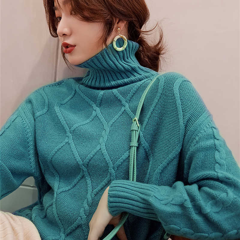 Ladies Jumpers 100% Cashmere and Wool Knitted Sweaters for Women 2019 Turtleneck 4Colors Thick Pullovers Clothes