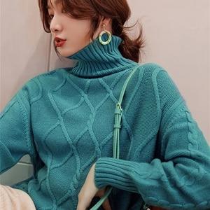 Image 1 - 숙 녀 점퍼 100% 캐시미어 및 양모 니트 스웨터 여성 2019 터틀넥 4 색 두꺼운 pullovers 옷