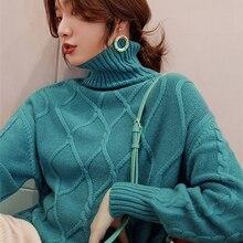 Jerseys de punto de Cachemira y lana para mujer, 100%, cuello alto, 4 colores, jerseys gruesos, 2019