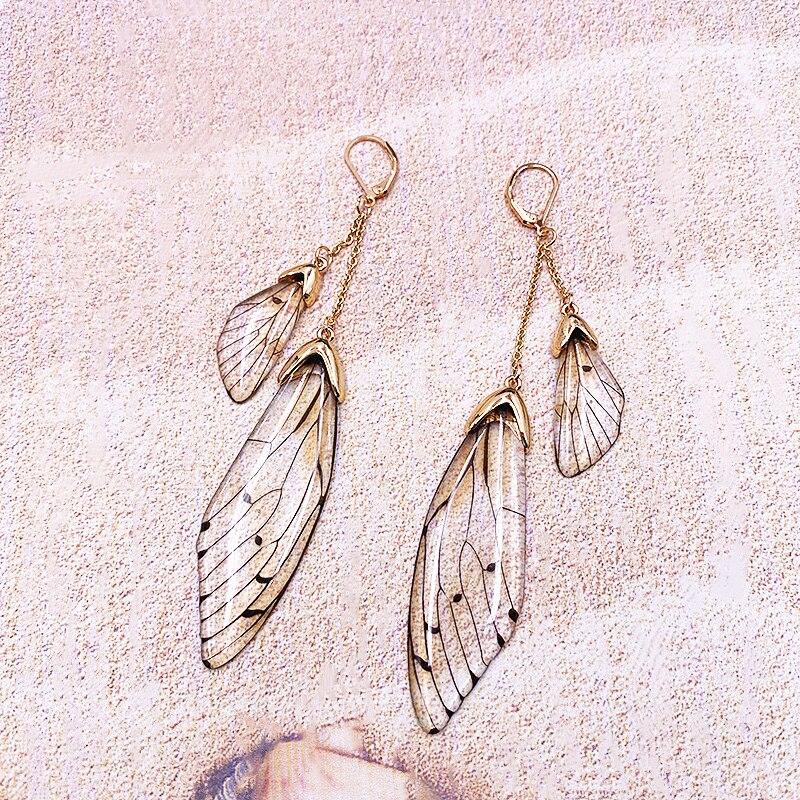 Handmade Fairy Simulation Double Wing Earrings Insect Butterfly Wing Drop Earrings Foil Crystal Earrings Sweet Wedding Jewelry
