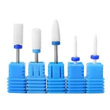 Синие средние сверла для ногтей, керамические электрические аксессуары для ногтей, фреза для маникюра, педикюра, инструмент для маникюра, снятия лака для ногтей