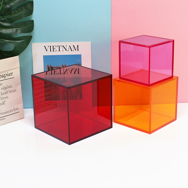 Desktop home decoration storage box Cosmetics Lipstick office acrylic cover small box dust transparent 3
